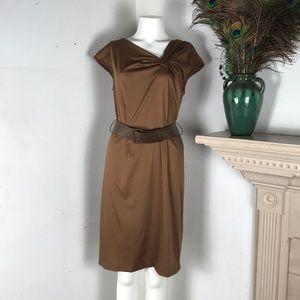 Anne Klein Khaki Shift Dress Asymmetrical Pleated